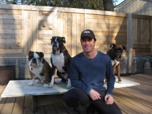 Canadian actor Yannick Bisson - Murdoch Mysteries - and his boxers and bull dog.