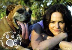 Jorja Fox and her boxer Ali