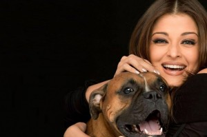 Aishwarya Rai (Bollywood Star) with her boxer dog